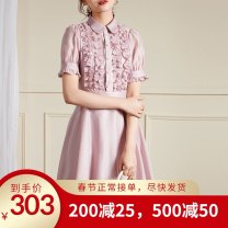 Women's large Spring 2020 Pink Large L, s, M singleton  Short sleeve Solid color Polo collar puff sleeve AW10033 Other / other Middle-skirt