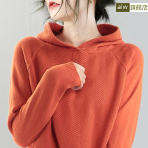 Women's large Spring 2020 singleton  commute Straight cylinder thin Socket Long sleeves Solid color Hood have cash less than that is registered in the accounts Bat sleeve T319 AI.W thread Cotton 100%