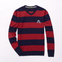 T-shirt / sweater Others Fashion City Red and blue stripes, blue and gray stripes 2XL, 3XL, 4XL, l Thin money Socket V-neck Long sleeves 7Y761 spring and autumn Straight cylinder 2020 Viscose (viscose) 81.4% polyester 18.6% leisure time American leisure youth routine stripe washing man-made fiber