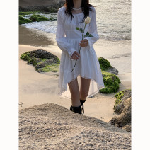 Dress Spring 2021 Off white, black S, M Mid length dress singleton  Long sleeves commute Crew neck High waist Solid color Irregular skirt Others 18-24 years old Type A HRG style Simplicity More than 95% cotton