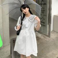 Dress Summer 2021 Black, white Average size Short skirt singleton  Short sleeve Doll Collar Broken flowers Other / other cotton
