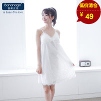 Nightdress Bananagirl Women's white dress Average size Sweet camisole pajamas Middle-skirt summer Solid color youth V-neck Polyester (polyester) Embroidery More than 95% other CM16103 200g and below