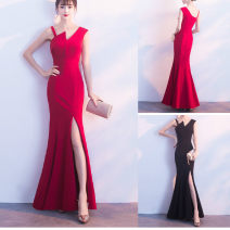Dress Winter 2017 Red, blue, black S,M,L longuette singleton  Sleeveless commute Slant collar middle-waisted Solid color zipper other other Oblique shoulder 18-24 years old Type A Korean version Splicing 81% (inclusive) - 90% (inclusive) cotton
