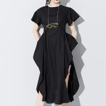Dress Summer 2020 White, black Average size Mid length dress singleton  Short sleeve street Crew neck High waist Solid color Socket Irregular skirt Lotus leaf sleeve Others 25-29 years old Type X Other / other Lace, lace More than 95% other cotton Europe and America
