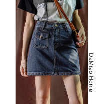 skirt Spring 2021 S,M,L,XL Dark blue, light blue Short skirt commute High waist skirt Solid color Type A Denim cotton Pocket, asymmetric, button, zipper, stitching Korean version