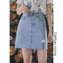 skirt Summer 2021 S,M,L,XL wathet Short skirt commute High waist Denim skirt Solid color Type A Denim cotton Pocket, asymmetric, button, zipper, stitching, taping Korean version