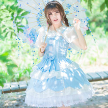 Dress Summer of 2019 Light blue, baby blue Customized s code, customized M code, customized l code, customized for specific size Middle-skirt singleton  Sleeveless Sweet One word collar middle-waisted Big flower zipper Cake skirt other Others Happy dress Bows, lace, ruffles More than 95% Poplin