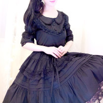 Dress Fall 2017 black Size customized write notes, s size customized, M size customized, L size customized Middle-skirt singleton  elbow sleeve Sweet Doll Collar Elastic waist Solid color zipper Princess Dress puff sleeve Others Happy dress Ruffles, lace More than 95% other cotton Lolita