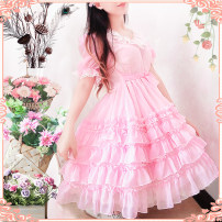 Dress Summer 2020 Short skirt singleton  Short sleeve Sweet V-neck middle-waisted Solid color other Ruffle Skirt puff sleeve Others 18-24 years old Happy dress Lotus leaf edge More than 95% Chiffon solar system
