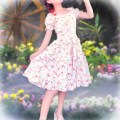 Dress Summer 2021 Picture color Customized s code is not in stock, customized M code is not in stock, customized l code is not in stock, customized for specific size Middle-skirt singleton  Short sleeve commute One word collar middle-waisted Broken flowers zipper Big swing Princess sleeve rural