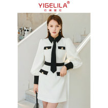 Dress Summer 2020 black and white S,M,L Middle-skirt singleton  Long sleeves commute Polo collar High waist A-line skirt bishop sleeve 25-29 years old Type A Ol style More than 95% polyester fiber