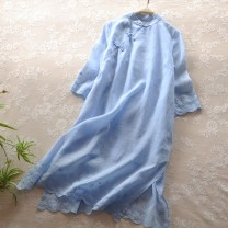 Dress Summer 2020 Light blue, red, black, white, pink Average size Mid length dress singleton  three quarter sleeve commute stand collar Loose waist Solid color Socket A-line skirt routine Others Type A Retro Embroidery, buttons More than 95% hemp