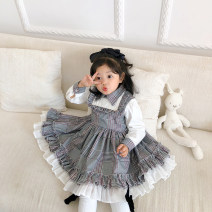 Dress female The Little Avery 90cm,100cm,110cm,120cm,130cm Polyester 97% polyurethane elastic fiber (spandex) 3% spring and autumn princess Long sleeves lattice blending Pleats 12 months, 18 months, 2 years old, 3 years old, 4 years old, 5 years old
