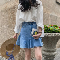 skirt Summer 2021 S,M,L blue Short skirt commute Natural waist other Solid color Type H 18-24 years old 106% 30% and below Honey rain Korean version