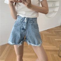 Jeans Spring 2021 Blue, black S,M,L,XL shorts High waist Straight pants routine 18-24 years old other other 2227% Honey rain
