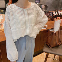 shirt white Average size Spring 2021 other 30% and below Long sleeves commute Regular Crew neck Socket other Solid color 18-24 years old Straight cylinder Honey rain Korean version 123409%