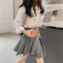 skirt Summer 2021 S,M,L Gray, black Mid length dress commute Natural waist other Solid color Type H 18-24 years old two thousand and sixty-nine % Honey rain Korean version