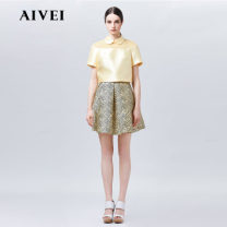 skirt Spring 2016 4,6,8,10 Black and white, black and yellow Short skirt Versatile Natural waist Umbrella skirt stripe 25-29 years old H7200604 30% and below AIVEI polyester fiber pocket