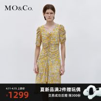 Dress Summer 2021 Small yellow flowers XS/155 S/160 M/165 L/170 XL/175 longuette singleton  Short sleeve street V-neck High waist 25-29 years old MO & Co. / Moco MBA2DRS014 More than 95% polyester fiber Polyester 100% Same model in shopping mall (sold online and offline) Europe and America