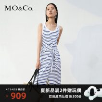 Dress Summer 2021 Blue and white stripe XS/155 S/160 M/165 L/170 XL/175 Mid length dress singleton  Sleeveless street 25-29 years old MO & Co. / Moco MBA2DRST20 More than 95% cotton Cotton 100% Same model in shopping mall (sold online and offline) Europe and America