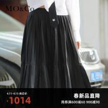 skirt Spring 2021 XS/155 S/160 M/165 L/170 XL/175 Pink Black Mid length dress street High waist Pleated skirt Solid color 25-29 years old MBA1SKTT04 More than 95% MO & Co. / Moco polyester fiber Polyester 100% Same model in shopping mall (sold online and offline) Europe and America