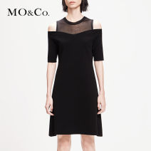 Dress Spring of 2019 black XS/155 S/160 M/165 L/170 XL/175 Mid length dress Fake two pieces elbow sleeve street Crew neck Elastic waist Solid color Socket A-line skirt routine Others 25-29 years old Type A MO & Co. / Moco Hollowing out MAI1DRS029 31% (inclusive) - 50% (inclusive) other