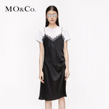 Dress Summer 2020 black XS/155 S/160 M/165 L/170 XL/175 Short skirt singleton  Short sleeve street Crew neck Solid color 25-29 years old MO & Co. / Moco More than 95% Cellulose acetate Acetate fiber (acetate fiber) 100% Same model in shopping mall (sold online and offline) Europe and America
