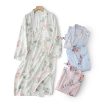 Nightgown / bathrobe Z.Moment female Thin money Sweet viscose  summer More than 95% Short (Mid Thigh to knee) other Plants and flowers youth printing