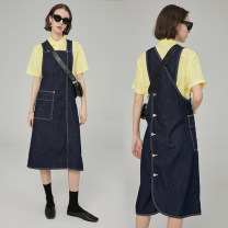 Dress Summer of 2019 Dark blue, dark blue, second batch S,M,L Mid length dress singleton  Sleeveless commute square neck Loose waist Solid color Socket other other straps 18-24 years old Type H fano studios Simplicity pocket FA19L130 More than 95% other cotton