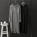 Dress Spring 2021 Black, gray Average size longuette singleton  Long sleeves commute Hood Loose waist Solid color Single breasted routine Others Type H pocket More than 95% modal
