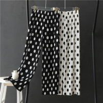 Casual pants Black, milky white Average size Summer 2021 trousers Wide leg pants High waist Thin money 31% (inclusive) - 50% (inclusive) other Asymmetry