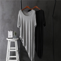 T-shirt Light grey, black Average size Spring 2021 Short sleeve Crew neck easy Medium length routine commute modal  96% and above 18-24 years old Solid color Asymmetry
