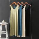 Dress Summer 2020 Black, green, lake blue, beige Average size longuette singleton  Sleeveless V-neck High waist Solid color Socket A-line skirt Others Frenulum other
