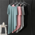 Dress Summer 2020 Light gray, black, pink, bean green Average size Mid length dress singleton  Short sleeve commute Crew neck Loose waist Solid color Socket Irregular skirt routine camisole Type H 81% (inclusive) - 90% (inclusive) modal
