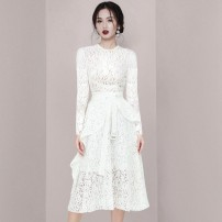 Dress / evening wear Wedding, adulthood, party, company annual meeting, performance, routine, appointment XS,S,M,L,XL white grace Medium length High waist Winter 2020 Self cultivation U-neck Hollowing out polyester fiber 26-35 years old T6904 Long sleeves Solid color routine 96% and above