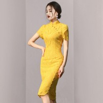 Dress / evening wear Wedding, adulthood, party, company annual meeting, performance, routine, appointment XS,S,M,L yellow Retro Middle-skirt High waist Summer 2020 Self cultivation stand collar zipper polyester 26-35 years old D006 Short sleeve Solid color routine 96% and above