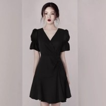 Dress Summer 2020 black XS,S,M,L Short skirt singleton  Short sleeve commute V-neck High waist Solid color zipper A-line skirt puff sleeve Others 25-29 years old Type A lady Panel, zipper 6050,64990,MZ19819 More than 95% other polyester fiber