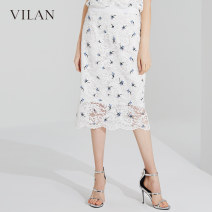 skirt Spring of 2019 155/64A 160/68A 165/72A 170/76A Light blue black white longuette Versatile Natural waist A-line skirt Broken flowers Type A 25-29 years old H2001CQ1 More than 95% other Vivian / Huilan polyester fiber Cut out lace Polyester 100%