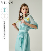 Dress Spring 2021 Clear water blue white 155/80A 160/84A 165/88A 170/92A Mid length dress Two piece set Short sleeve commute V-neck High waist Solid color Socket Princess Dress other Others 25-29 years old Type A Vivian / Huilan lady Button zipper J2010SL1 More than 95% other Other 100%