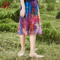 skirt Summer 2020 S M L XL XXL XXXL Mid length dress commute Natural waist A-line skirt Decor Type A 40-49 years old More than 95% Tangy / Tianyi silk printing ethnic style Mulberry silk 100% Pure e-commerce (online only)