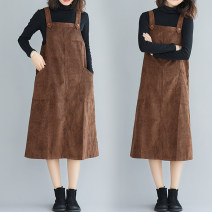 Dress Autumn of 2019 coffee M [85-100 Jin], l [100-115 Jin], XL [115-130 Jin], 2XL [130-150 Jin], 3XL [150-170 Jin] Mid length dress singleton  commute One word collar Loose waist Solid color Socket A-line skirt straps Type A Other / other literature 81% (inclusive) - 90% (inclusive) corduroy cotton