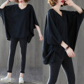 Women's large Summer 2020 black One size fits all T-shirt singleton  commute easy moderate Socket elbow sleeve Solid color literature V-neck routine other Collage Bat sleeve Other / other 25-29 years old Asymmetry 71% (inclusive) - 80% (inclusive)