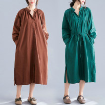 Women's large Spring 2021 Brown, green, black Large average size [100-180 kg] Dress singleton  commute easy moderate Cardigan Long sleeves Solid color literature V-neck other Three dimensional cutting bishop sleeve Other / other 25-29 years old pocket 81% (inclusive) - 90% (inclusive) Medium length