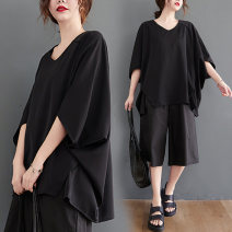 Women's large Summer 2021 black shirt singleton  commute easy thin Socket elbow sleeve Solid color literature V-neck Medium length other Three dimensional cutting Bat sleeve Other / other 25-29 years old Asymmetry 71% (inclusive) - 80% (inclusive)
