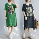 Women's large Summer 2021 Green, black Dress singleton  commute easy moderate Socket Short sleeve Decor literature Crew neck Cotton, hemp printing and dyeing routine Other / other 25-29 years old 71% (inclusive) - 80% (inclusive) Medium length other