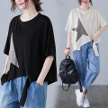 Women's large Summer 2021 White, black L [100-150 Jin], XL [150-200 Jin] T-shirt singleton  commute easy moderate Socket Short sleeve shape literature Crew neck routine cotton Collage routine Other / other 25-29 years old Asymmetry 71% (inclusive) - 80% (inclusive)