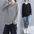 Women's large Spring 2021 Gray, black Large average size [100-180 kg] Knitwear / cardigan singleton  commute easy moderate Socket Long sleeves Solid color literature Hood routine cotton Three dimensional cutting routine Other / other 25-29 years old 71% (inclusive) - 80% (inclusive)
