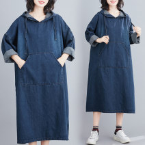 Women's large Autumn 2020 blue M [100-130 Jin], l [130-160 Jin], XL [160-190 Jin], 2XL [180-220 Jin] Jeans singleton  commute easy moderate Socket Long sleeves Solid color literature Hood Denim Three dimensional cutting routine Other / other 25-29 years old pocket 71% (inclusive) - 80% (inclusive)