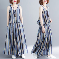 Fashion suit Summer 2020 Large average size [100-180 kg] Blue stripe 25-35 years old Other / other 71% (inclusive) - 80% (inclusive) cotton