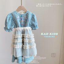 Dress wathet female Other / other Cotton 90% other 10% summer Korean version lattice cotton A-line skirt Class B 12 months, 18 months, 2 years old, 3 years old, 4 years old, 5 years old, 6 years old, 7 years old